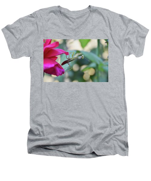 Men's V-Neck T-Shirt featuring the photograph Surprise At The Rose by Debby Pueschel