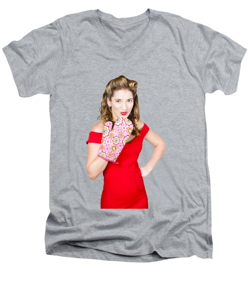 Surprise Cooking Pinup Woman With Cook Mitt Men's V-Neck T-Shirt by Jorgo Photography - Wall Art Gallery