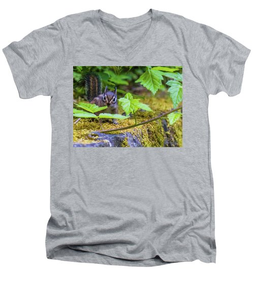 Men's V-Neck T-Shirt featuring the photograph Surprised Chipmunk by Jonny D