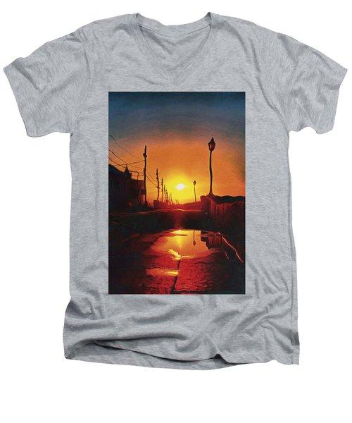 Surreal Cityscape Sunset Men's V-Neck T-Shirt by Anton Kalinichev
