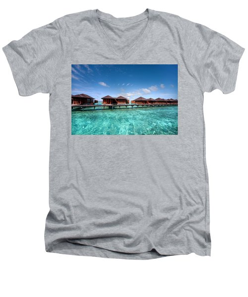 Men's V-Neck T-Shirt featuring the photograph Surrounded By Blue by Jenny Rainbow