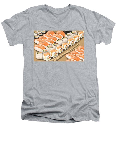 Men's V-Neck T-Shirt featuring the painting Sushi by Veronica Minozzi