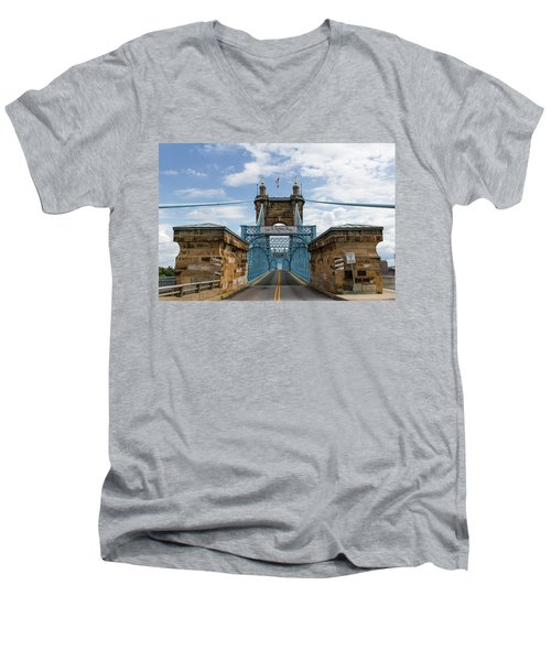 Suspension Bridge Wide Angel Men's V-Neck T-Shirt by Scott Meyer