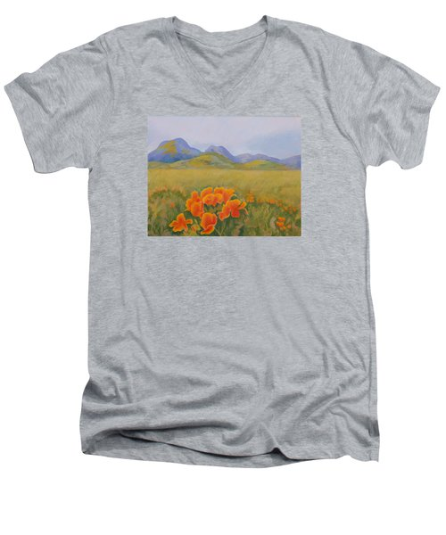 Sutter Buttes With California Poppies Men's V-Neck T-Shirt