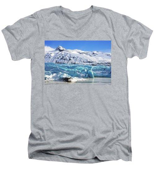 Men's V-Neck T-Shirt featuring the photograph Svinafellsjokull Glacier Iceland by Matthias Hauser