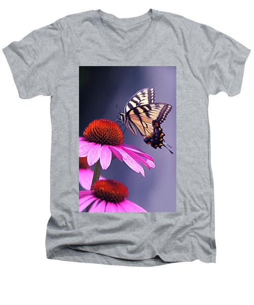Men's V-Neck T-Shirt featuring the photograph Swallowtail And Coneflower by Byron Varvarigos