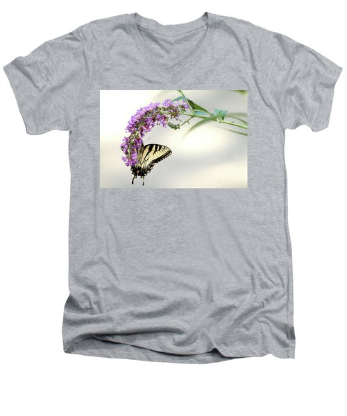 Men's V-Neck T-Shirt featuring the photograph Swallowtail On Purple Flower by Emanuel Tanjala