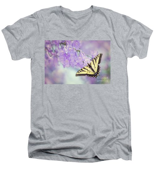 Swallowtail On Purple Flowers Men's V-Neck T-Shirt