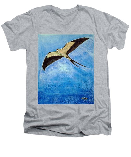 Men's V-Neck T-Shirt featuring the mixed media Swallowtail Sighting by Suzanne McKee