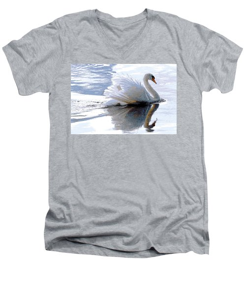Swan Bathed In Morning Light Series 3 - Digitalart Men's V-Neck T-Shirt