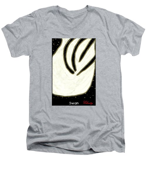 Men's V-Neck T-Shirt featuring the painting Swan by Clarity Artists