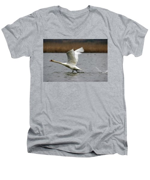 Swan During Take Off Men's V-Neck T-Shirt