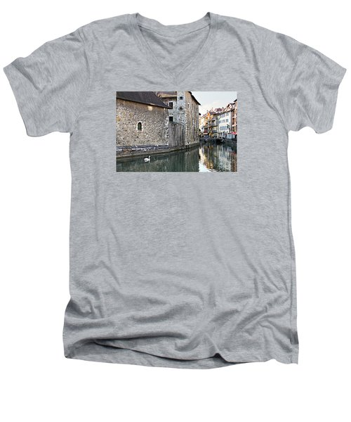 Swan In Annecy France Canal Men's V-Neck T-Shirt by Katie Wing Vigil