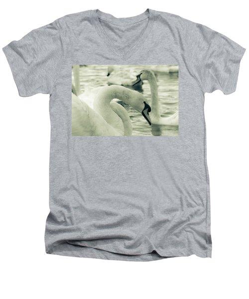 Swan In Water Men's V-Neck T-Shirt