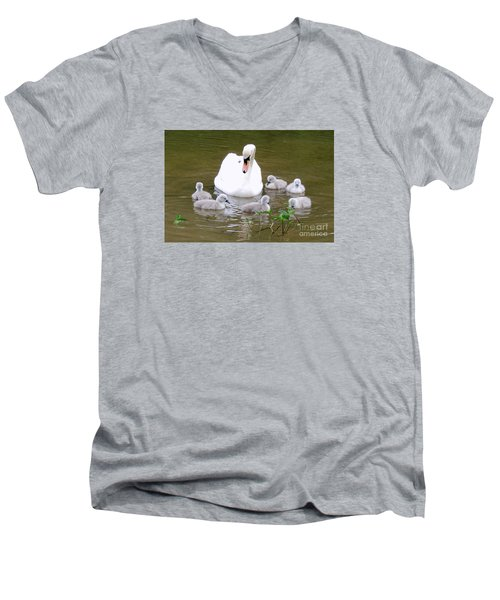 Men's V-Neck T-Shirt featuring the photograph Swan Lake 1 by Bill Holkham