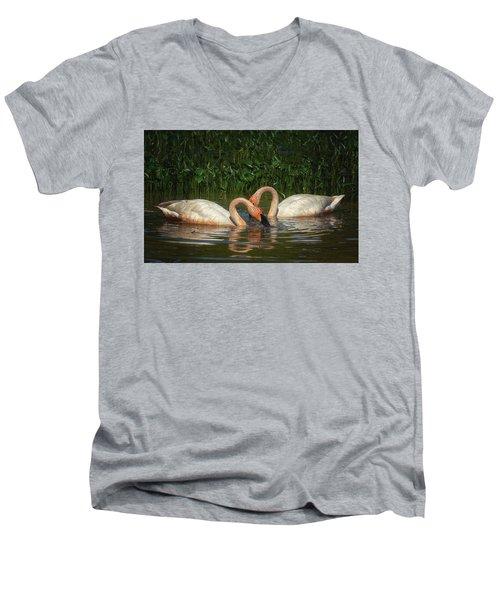 Swans In A Pond  Men's V-Neck T-Shirt