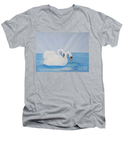 Swans On Open Water Men's V-Neck T-Shirt