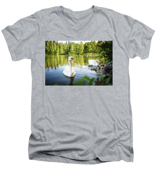 Swans With Chicks Men's V-Neck T-Shirt by Teemu Tretjakov