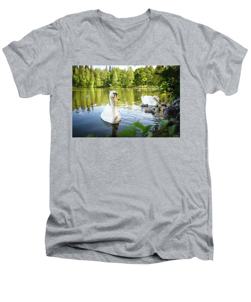 Swans With Chicks Men's V-Neck T-Shirt