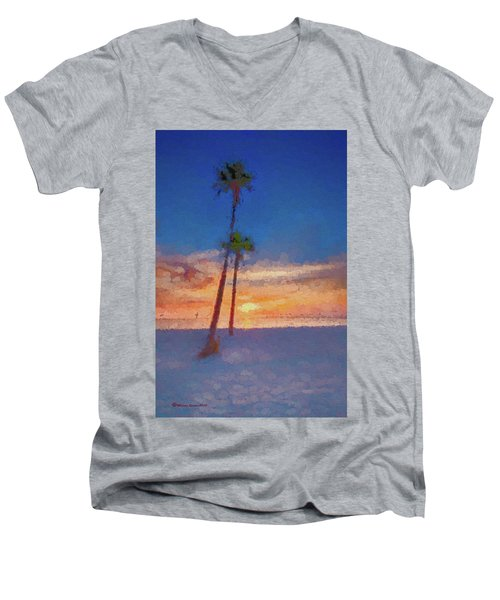 Men's V-Neck T-Shirt featuring the photograph Swaying Palms by Marvin Spates