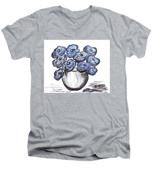 Sweet Blue Poppies Men's V-Neck T-Shirt