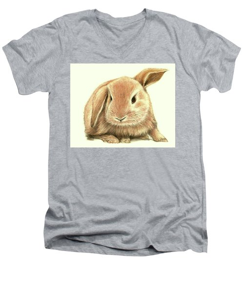 Men's V-Neck T-Shirt featuring the drawing Sweet Bunny by Heidi Kriel