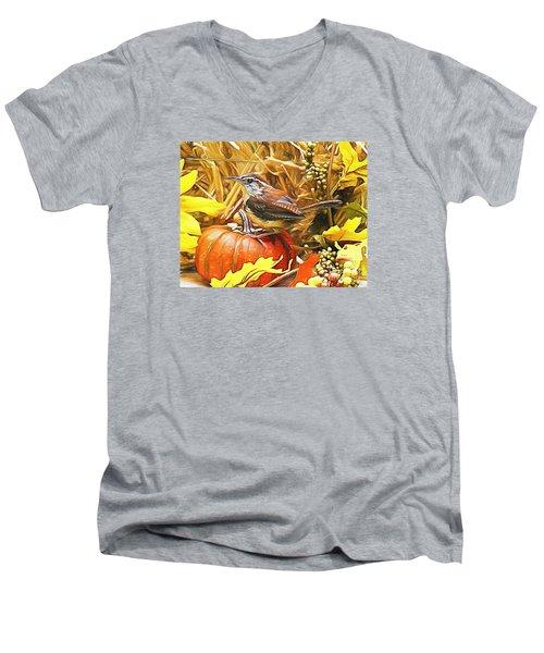 Sweet Carolina Wren Men's V-Neck T-Shirt by Tina  LeCour
