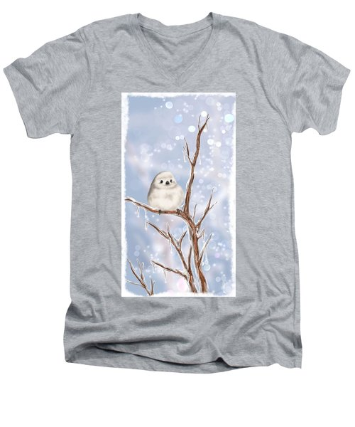 Men's V-Neck T-Shirt featuring the painting Sweet Cold by Veronica Minozzi