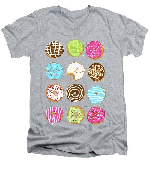 Sweet Donuts Men's V-Neck T-Shirt by Evgenia Chuvardina