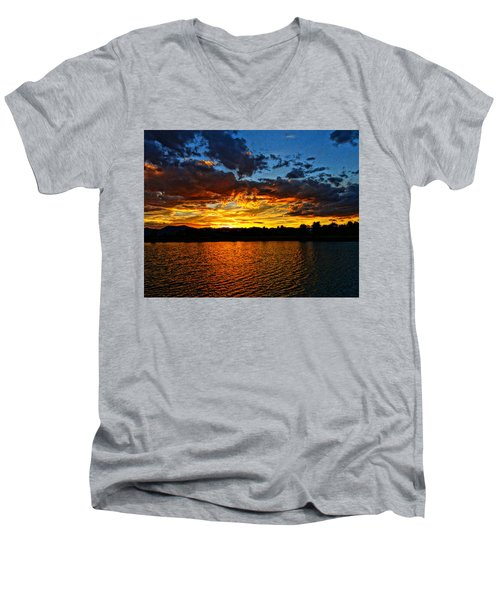 Sweet End Of Day Men's V-Neck T-Shirt by Eric Dee