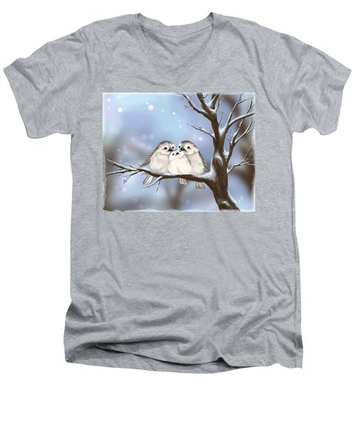 Men's V-Neck T-Shirt featuring the painting Sweet Family by Veronica Minozzi