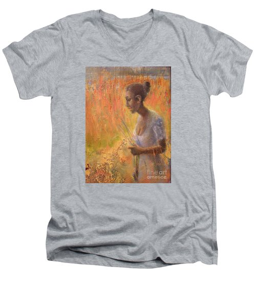 Sweet Grass Men's V-Neck T-Shirt by Gertrude Palmer