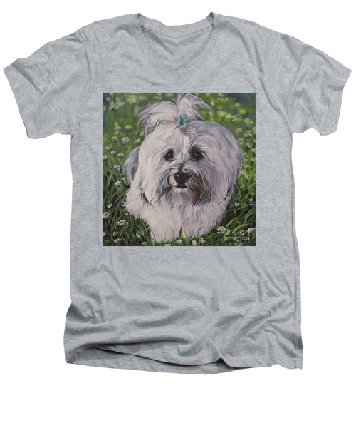Men's V-Neck T-Shirt featuring the painting Sweet Havanese Dog by Lee Ann Shepard