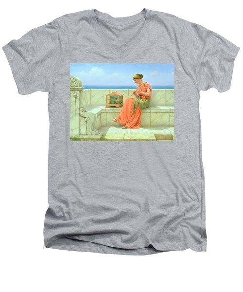 Sweet Sounds Men's V-Neck T-Shirt by John William Godward
