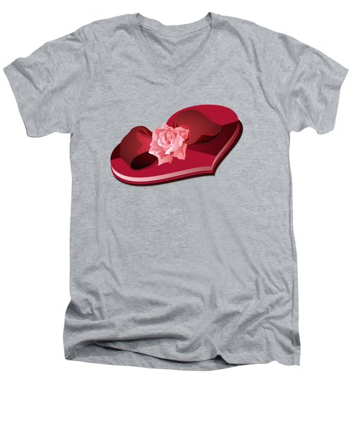 Sweetheart Candy Box With Pink Rose Men's V-Neck T-Shirt