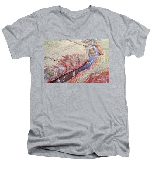 swift creek at  Colorado foothills - aerial view Men's V-Neck T-Shirt
