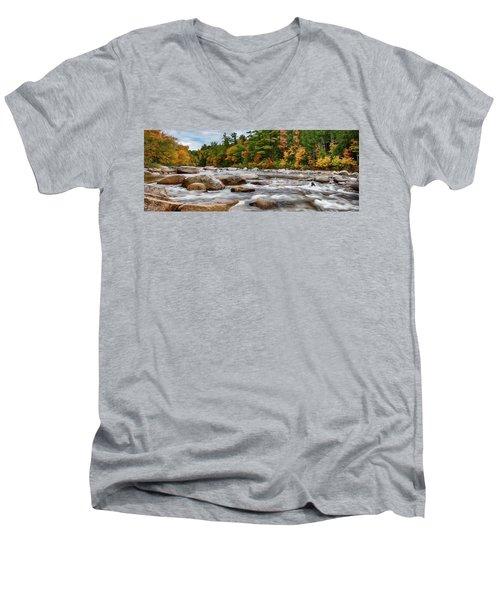 Swift River Runs Through Fall Colors Men's V-Neck T-Shirt