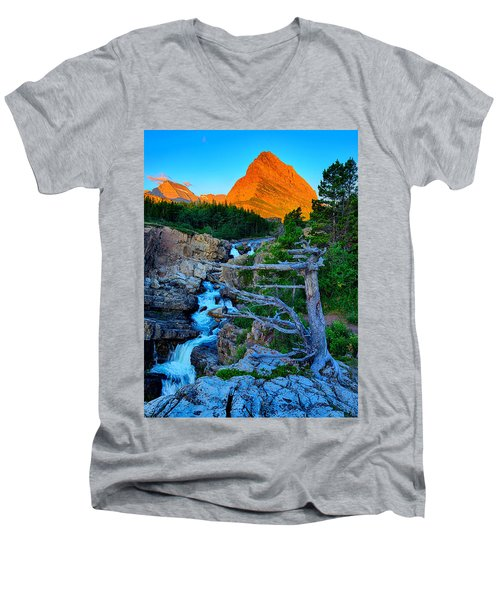Swiftcurrent Falls Men's V-Neck T-Shirt by Greg Norrell