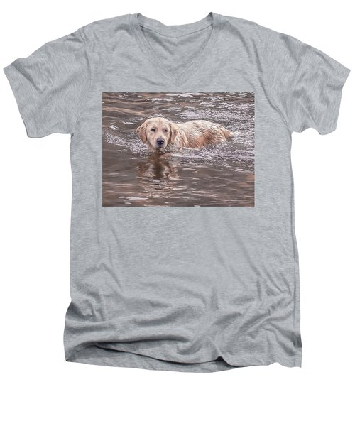 Swimming Puppy Men's V-Neck T-Shirt