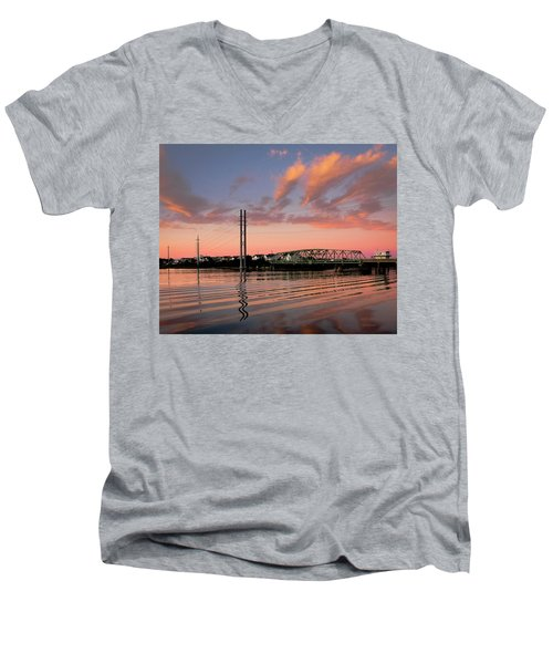 Swing Bridge At Sunset, Topsail Island, North Carolina Men's V-Neck T-Shirt by John Pagliuca