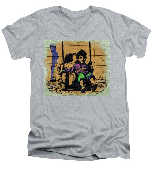 Men's V-Neck T-Shirt featuring the digital art Swing Of Life by Bliss Of Art