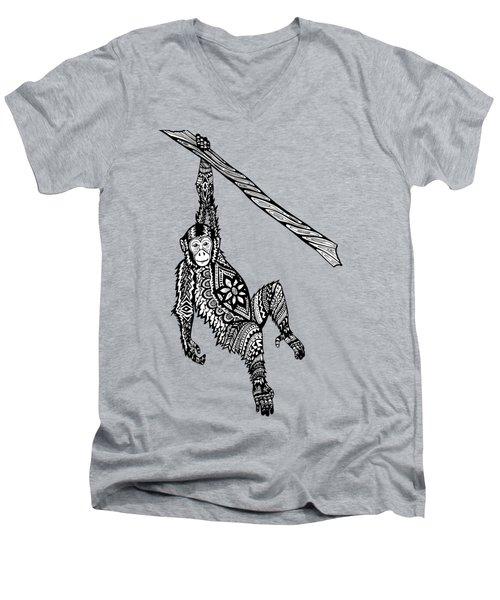Swinging Chimpanzee Zentangle Men's V-Neck T-Shirt