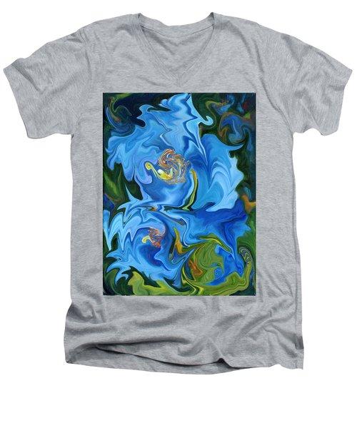 Swirled Blue Poppies Men's V-Neck T-Shirt by Renate Nadi Wesley