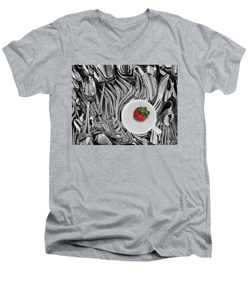 Swirled Flatware And Strawberry Men's V-Neck T-Shirt by Joe Bonita