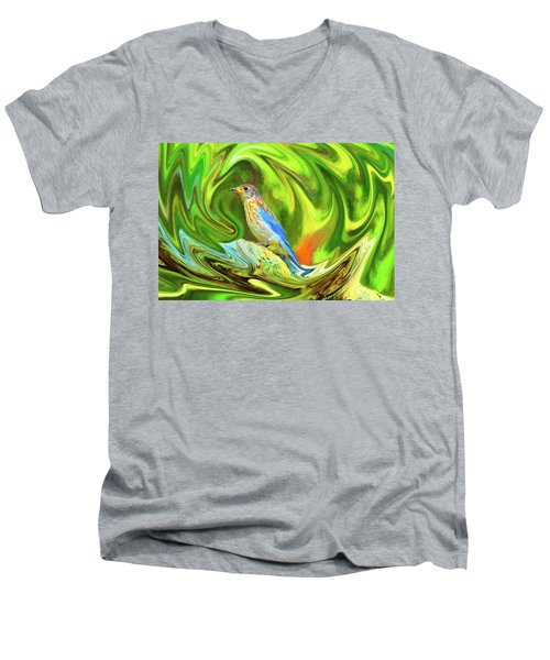 Swirling Bluebird  Men's V-Neck T-Shirt