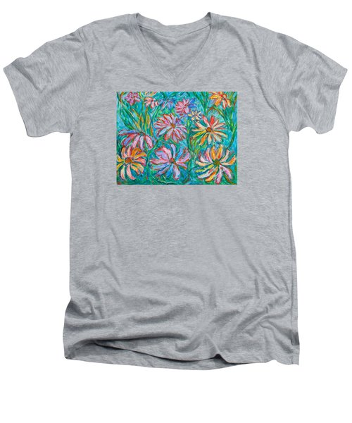Men's V-Neck T-Shirt featuring the painting Swirling Color by Kendall Kessler