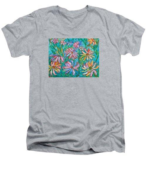 Swirling Color Men's V-Neck T-Shirt by Kendall Kessler