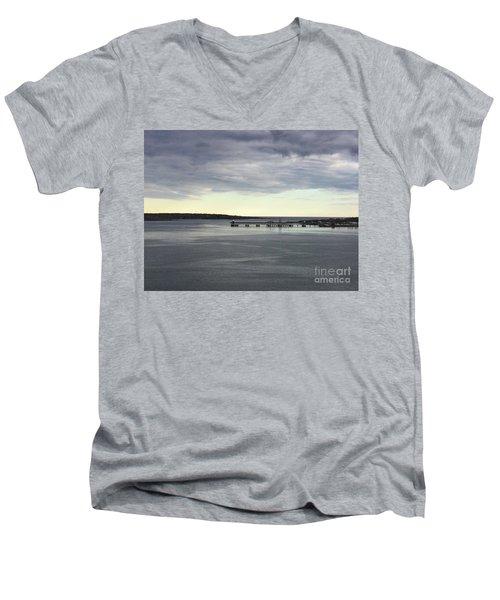 Swirling Currents On Casco Bay Men's V-Neck T-Shirt by Patricia E Sundik