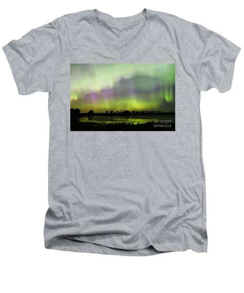 Men's V-Neck T-Shirt featuring the photograph Swirling Curtains 2 by Larry Ricker