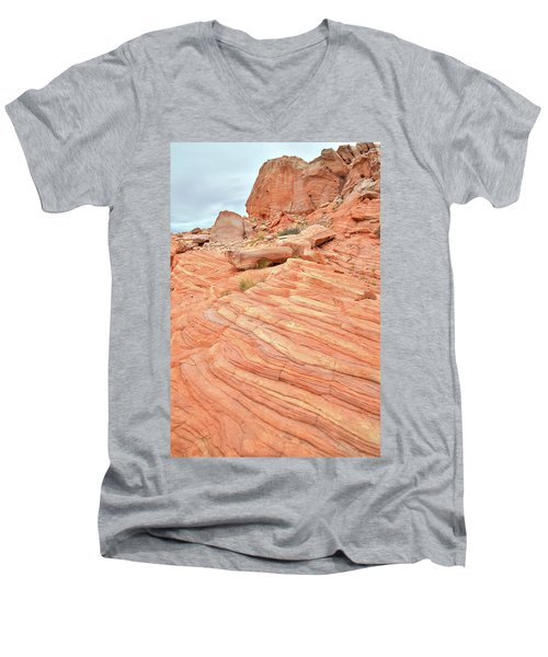 Men's V-Neck T-Shirt featuring the photograph Swirling Sandstone Color In Valley Of Fire by Ray Mathis